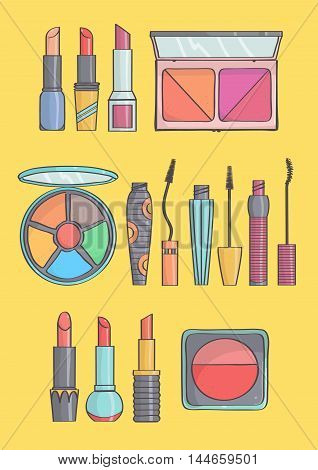 Trendy makeup collection on yellow background. Vector set of lipsticks, mascaras, blushes and eye shadows.