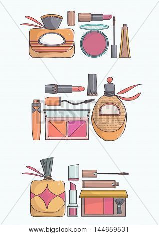 Elegant, stylish makeup collection with lipsticks, mascaras, blushes and perfumes, all on white background. Hand drawn vector illustration of makeup.
