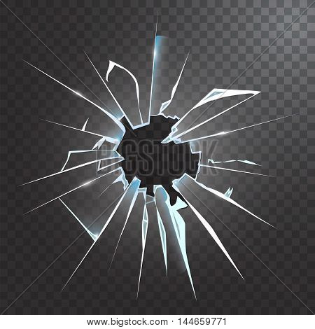 Accidentally broken frosted window pane or front door glass realistic decorative dark background icon vector illustration