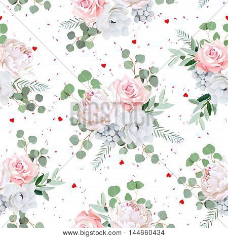 Lovely bouquets of rose peony anemone brunia flowers and eucaliptis leaves. Seamless vector print with red hearts and speckles.