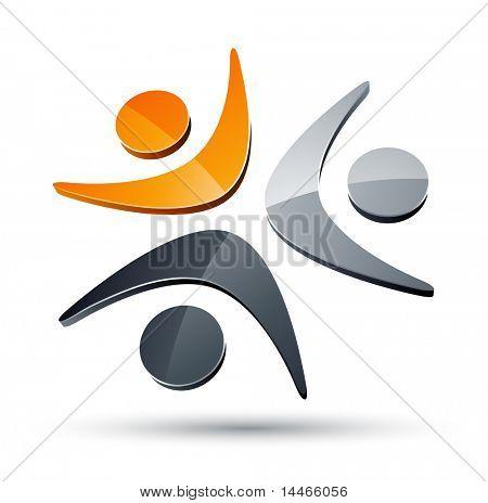 Elemento de design junto de seres humanos abstrata