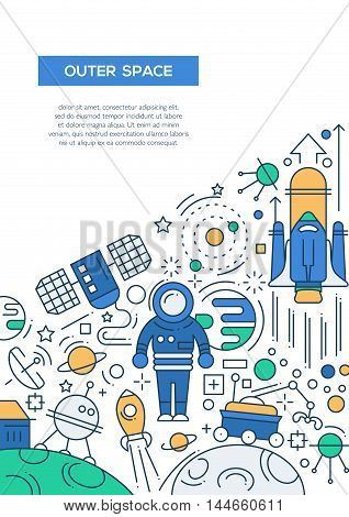 Outer space - vector line design brochure poster, flyer presentation template, A4 size layout.