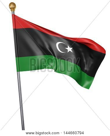 National flag for country of Libya isolated on white background, 3D rendering