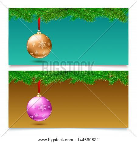 Set of three horizontal Christmas and New Year banners. Fir tree branches on blurred background with bright balls.