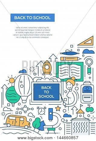 Back to School - vector line design brochure poster, flyer presentation template, A4 size layout