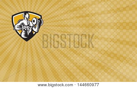 Business card showing Illustration of an athlete weightlifter lifting kettlebell with one hand and pumping dumbbell on the other hand facing side set inside shield crest on isolated background done in retro woodcut style.