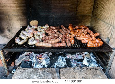 Mixed Meat On Barbecue Grill With Coal.