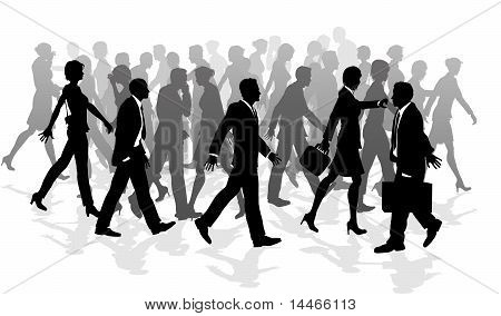 Business Walking Crowd Rushing People