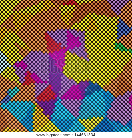 Multicolor abstract mosaic background. Pixel backdrop in 8-bit style, digital pattern vector ilustration
