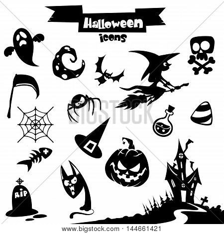 Vector collection of halloween elements. Pumpkin head witch skull grim reaper haunted house catghost moon spider poison pot broomstick candy scythe web bat tombstone icons.