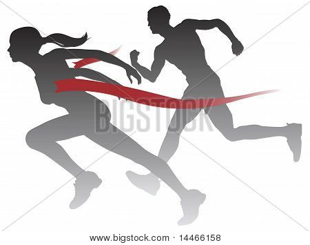 Woman Winning A Race