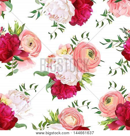 Burgundy red and white peonies ranunculus rose seamless vector pattern. Romantic elegant print with luxury bright flowers.