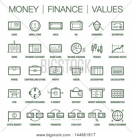 Icons set of money, finance and values area. Thick and thin lines. Colored on white.