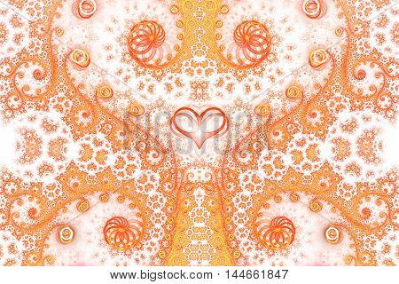 Abstract intricate swirly ornament on white background. Symmetrical pattern. Fantasy fractal design in bright orange and yellow colors.