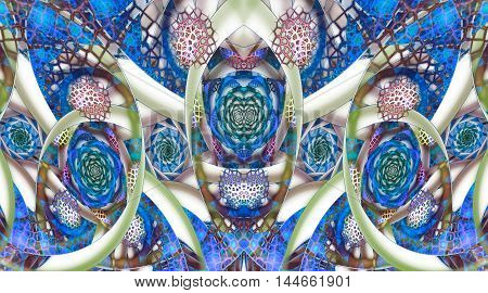 Abstract mosaic ornament with stylized flowers on white background. Symmetrical pattern. Fractal design in grey green pink and blue colors.