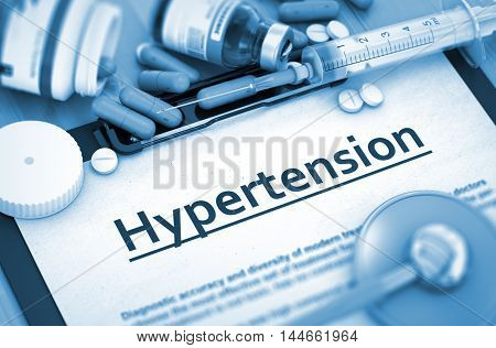 Diagnosis - Hypertension On Background of Medicaments Composition - Pills, Injections and Syringe. 3D.