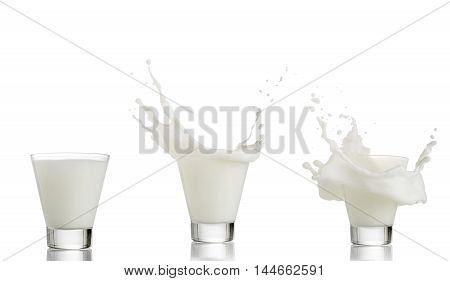 Set of milk splashing from the glass isolated on white background.