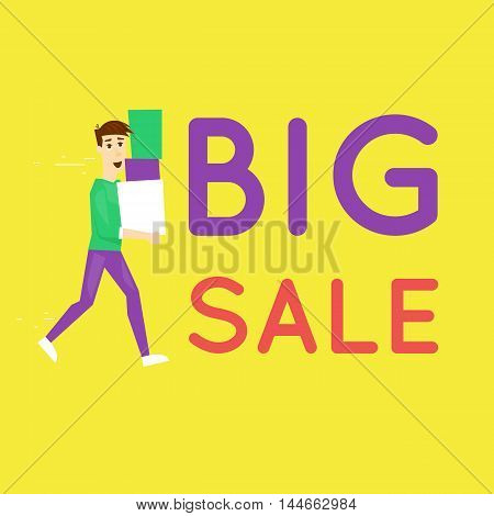 Happy man with boxes a big sale banner. Discount. Shopping. Character. Flat design vector.