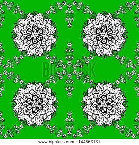 Seamless background. Circle flower mandalas seamless pattern in black white and green vector