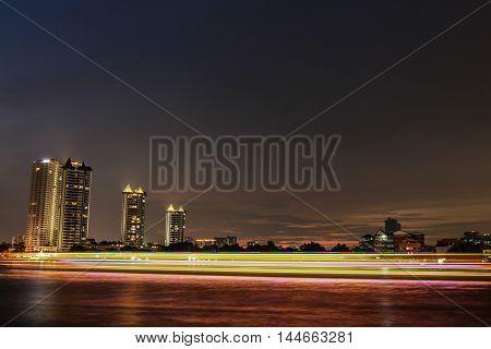 City Landscape At Night. Asiatique Riverfront Bangkok,Thailand.