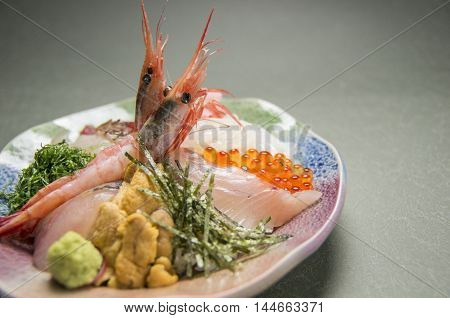 Locally produced pork Furong with grilled Gozen shrimp fish fillet and salmon roe