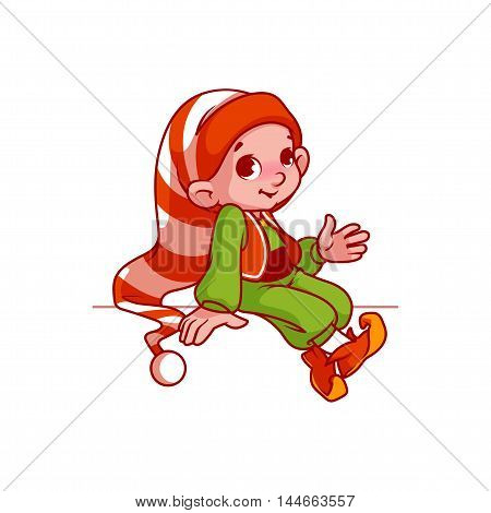 Little Santa's helper sitting on something. Vector cartoon character isolated on a white background.