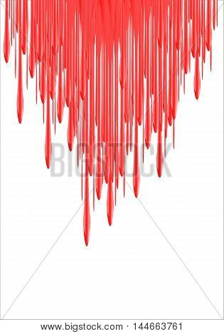 Paint Drips - vector illustration. Red falling red liquid or blood. red nail polish leaking. 3d illustration
