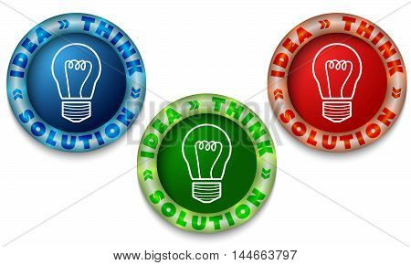 Three icons with color back light and the words idea think solution