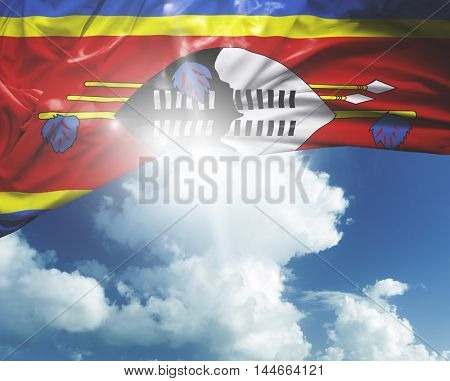 Swaziland flag on a beautiful day