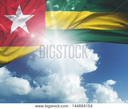 Togo flag on a beautiful day
