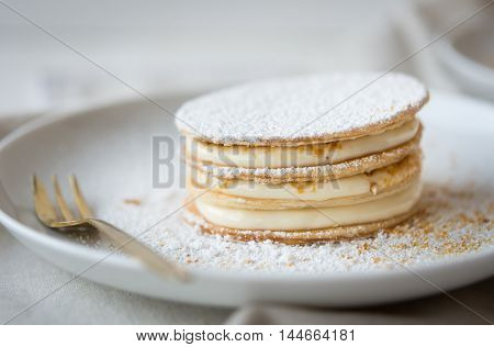 Classic millefeuille with mascarpone and amaretti praline
