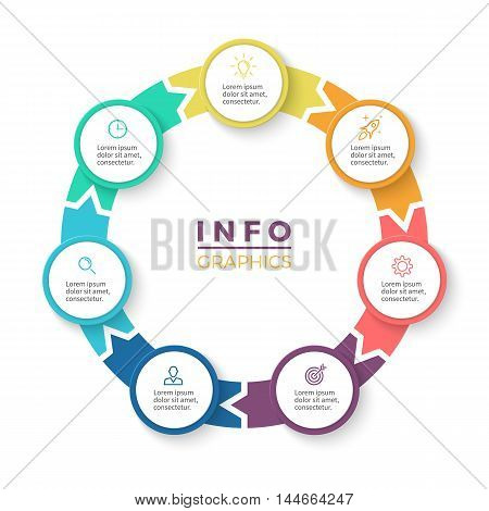 Circular arrows for infographics. Diagram with 7 steps, options, parts. Vector business template.
