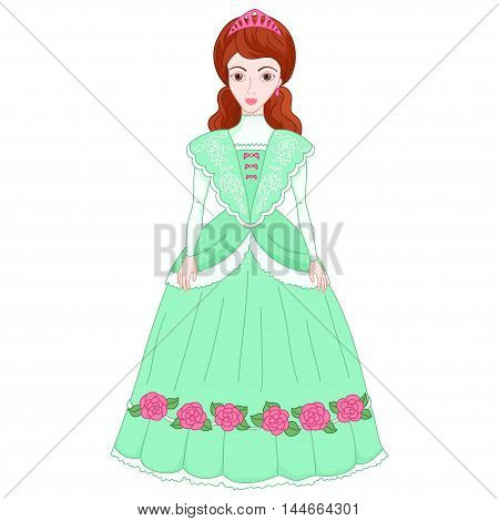 Illustration of beautiful brunette princess in ancient green dress 19 century, cute lady noblewoman, vector