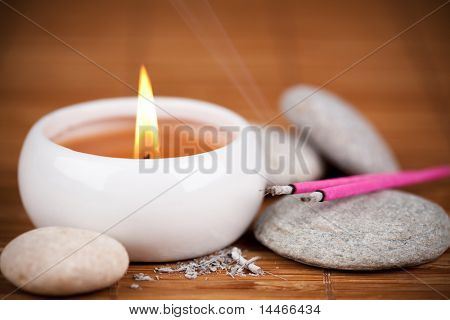 incense sticks and candle