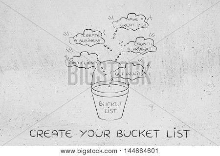 Bucket List With  Innovative Business Success, Thought Bubbles Version