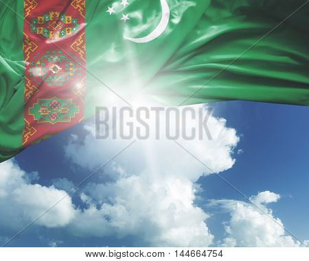 Turkmenistan flag on a beautiful day