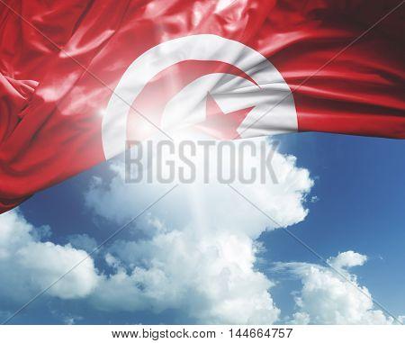 Tunisia flag on a beautiful day