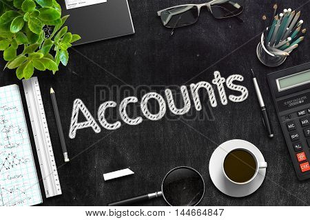 Accounts Concept on Black Chalkboard. 3d Rendering. Toned Image.