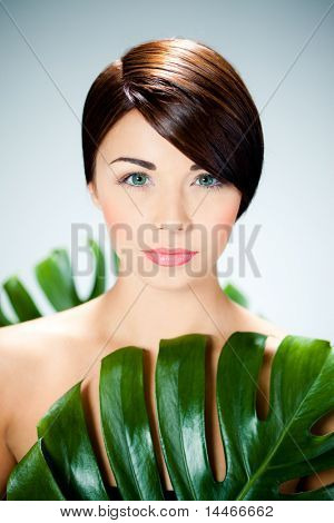 beautiful woman and leaves