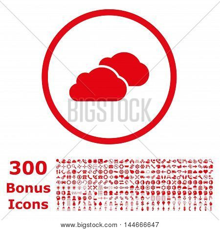Clouds rounded icon with 300 bonus icons. Vector illustration style is flat iconic symbols, red color, white background.