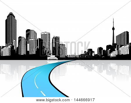 City with skyscrapers reflected in water. Vector art