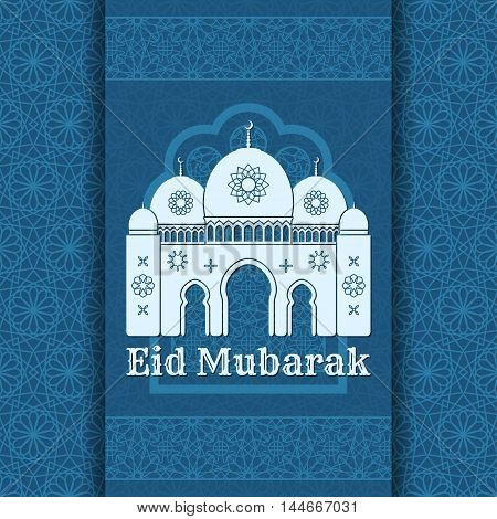 Eid Mubarak Background. Islamic Arabic window and mosque. Greeting card. Vector illustration.