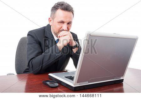 Confident Broker Standing On His Desk