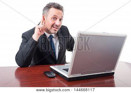 Businessman Holds His Hand Near Ear