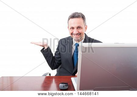 Young Businessman Showing Empty Copyspace