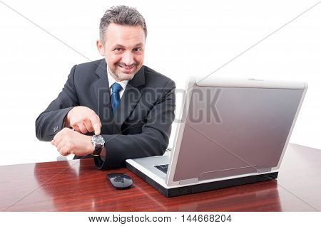 Business Manager Pointing Watch For Appointment