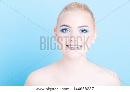 Pretty Girl Smiling With Professional Cool Make-up