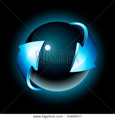 Abstract design, black sphere and blue arrow