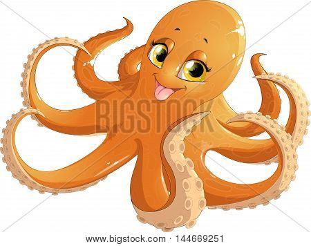 beautiful orange octopus on a white background