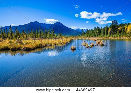 Sunny day in the Canadian Rockies. Shallow Lake Vermilion among the autumn forests